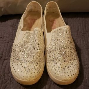 White Lace Sparkly loafers